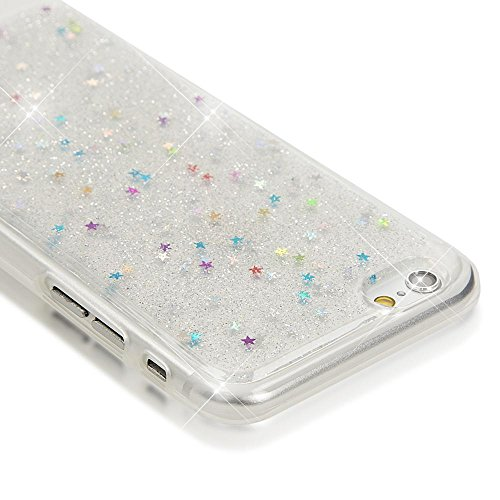 iPhone 6 6S Hülle Handyhülle von NICA, Glitzer Sterne Slim Silikon-Case Back-Cover Schutzhülle, Glitter Stars Sparkle Handy-Tasche, Dünnes Bling Strass Etui für Apple iPhone 6S 6, Farbe:Colorful Colorful