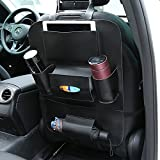 FJW Autositz-Organizer Autositzschutz Kick Mat Multifunctions Pockets Große Kapazität Auto Organizer mit Tablet-Halter,Black