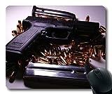 Yanteng Tapis de Souris, étuis pour Armes à feu dissimulés, Armes à feu et balles, Tapis de Souris avec Bords Cousus