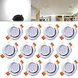 Hengda® 12er 7W LED Spot Einbauleuchte Kaltweiß Einbau Strahler Set Decken Lampe im Wohnzimmer, Schlafzimmer IP44