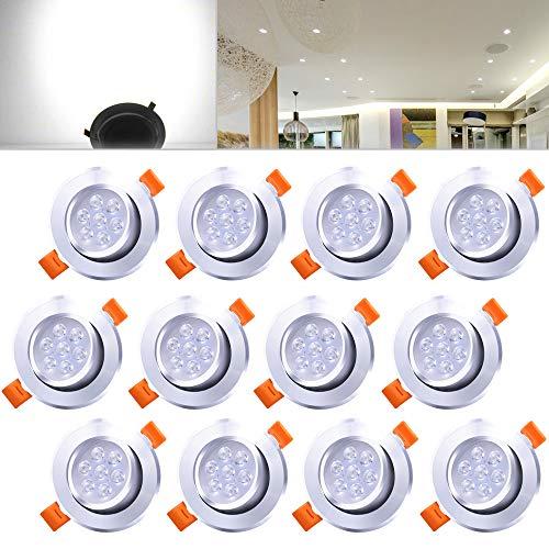 Hengda® 12 Stücke 7W LED Einbauleuchte 560 Lumen 6500K Kaltweiß Deckenspots Dimmbar Einbauspot für den Wohnbereich Einbauleuchten set IP44