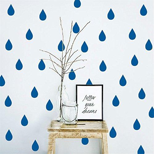 Preisvergleich Produktbild yanqiao 35pcs Mini Regentropfen Muster Wand Aufkleber babyroom Kinder Zimmer Kinderzimmer Home Dekorationen DIY Abnehmbare Wandaufkleber wandmalerei, Gold blau