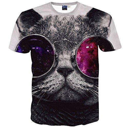 Pizoff Unisex Digital Print Schmale Passform T Shirts mit Katzen Cat 3D Muster, Y1625-30, Gr. XXL(EU-XL)