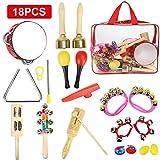 CrzKo Conjunto de instrumentos musicales para niños, 18 piezas Conjunto de percusión para niños...