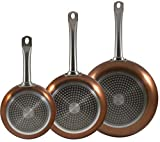 Bergner San Ignacio Proffesional Set of 3 Copper Frying Pan Set Induction Non Stick. Set includes 20cm Frying Pan, 24cm Frying Pan & 28cm Frying Pan