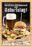 Geburtstagskarte für Männer, Geburtstag, B6, 17,3 x 11,7 cm, Klappkarte inkl. Umschlag, Motiv: Burger und Bier