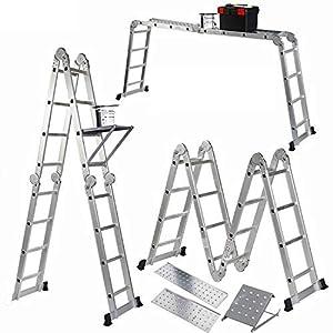 Keraiz – Escalera plegable (14 en 1, 4,7 m, con 2 placas de trabajo y 1 bandeja de herramientas, fabricada según las especificaciones EN131, parte 1 y 2