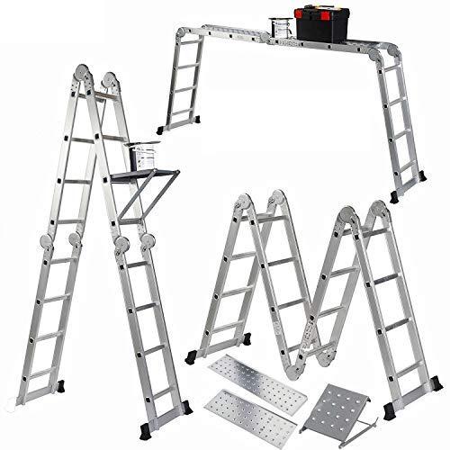 Vonhaus - Escalera plegable 14-en-1 (15'/4.6m) multi-propósito vonhaus con andamio de 2 plataformas de trabajo y 1 bandeja para herramientas, fabricada bajo especificaciones en131