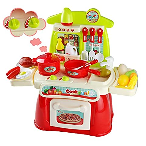 Kitchen Toys, Cooking Playset, Role Play Toys with Shine and Sound over 20 PCS for Kids Aged 3 4 5 6