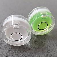2 x Dosenlibelle - Winzig kleine Wasserwaage mit Luftblase, Grün & Weiß / Mini BullsEye, kreisförmig