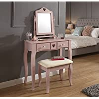 Home Source Vanity Dressing Table With Stool & Mirror Pink 2 Drawer Dresser Heart Design