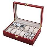 sunnymi Uhrenschatulle Uhrenkoffer Uhrenbox mit Schaufenster Aus Glas Für Aufbewahrung, Holz, Vintage Rot,Von 12 Uhren-Aufbewahrungs Kiste (340 x 250 x 128mm, Rot)