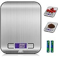 ADORIC Báscula Digital para Cocina de Acero Inoxidable, 5kg / 11 lbs, Balanza de Alimentos Multifuncional, Peso de Cocina, Color Plata (Baterías Incluidas)