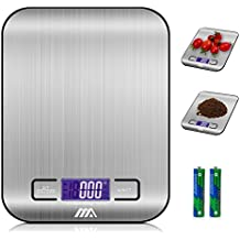 Adoric Báscula Digital para Cocina de Acero Inoxidable, 5kg / 11 lbs, Balanza de