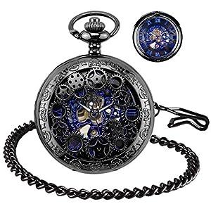 BHGWR Herren Taschenuhr mit Halskette Kette, Retro Herren Analog Steampunk Skelett Uhr, Mechanisch Handaufzug Taschenuhren mit römischen Ziffern für Herren – Schwarz