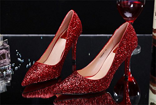 ALUK- Chaussures De Mariage - Fine Avec Pointed Shallow Bouche Sequined Mariage Chaussures Singles Chaussures ( couleur : 9.5cm , taille : 36 ) 9.5cm
