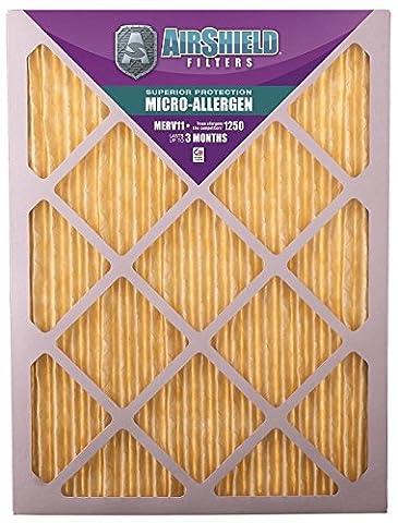 AirShield 30001-202-0042 Micro-Allergen MERV 11 Fine Furnace Filters (2 Pack), 20 x 30 x 1