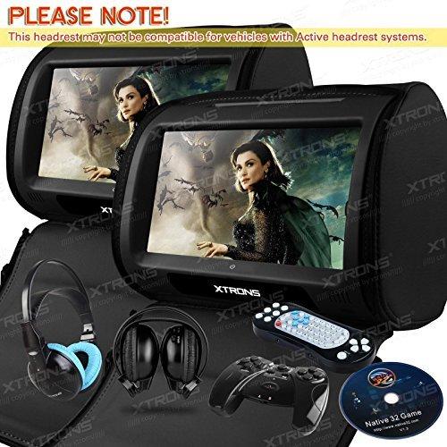 """XTRONS® 2 x 9"""" Auto Kopfstütze HD TOUCH SCREEN DVD PLAYER USB Spiel SCHWARZ Reißverschluss mit 2 IR Kopfhörer"""