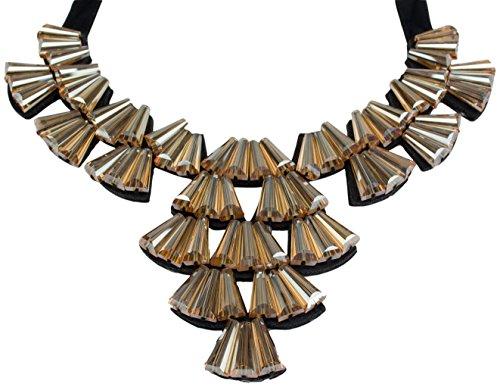 Statement-catena LOUISE colore Topaz con grandi pietre e nastro di raso drachensilber collana