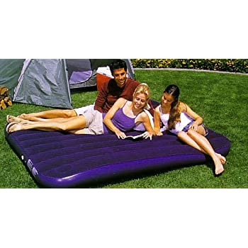 Flocked Double Air Bed with Built in Pump