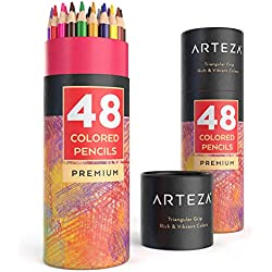 Lápices de dibujo de colores con forma triangular suave de Arteza - Pack de 48 lapiceros ergonómicos preafilados