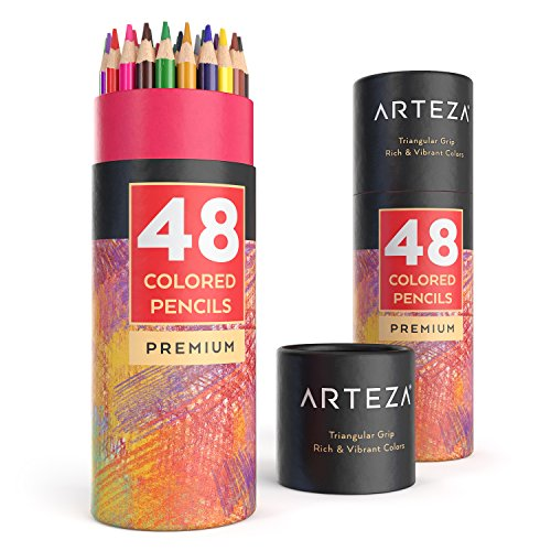 Arteza matite colorate da disegno, set da 48 pastelli triangolari pretemperati, lapis morbidi professionali, ideali per colorare, tratteggiare il tuo disegno e per sfumature acquerello