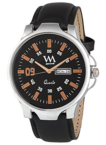 Watch Me Day and Date Analog Black Dial Black Leather Strap Quartz Watch for Men and Boys DDWM-025
