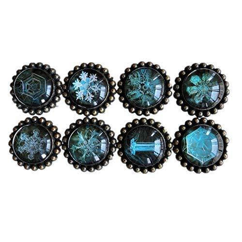 DRHYSFSA Türschnalle Antique Bronze + Crystal Stoßgriffe Set / 8pcs Vintage Retro Perlen viktorianischen, rustikalen Schranktür Bin Schrank Möbel Schublade Knöpfe -