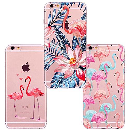 Freessom Lot de 3 Coque iPhone 5/5s Silicone Transparente Motif Flamant Rose Fleur Exotique Floral Feuille Dessin Noir Animaux Souple Originale Ultra Fine Cadeau Pas Cher