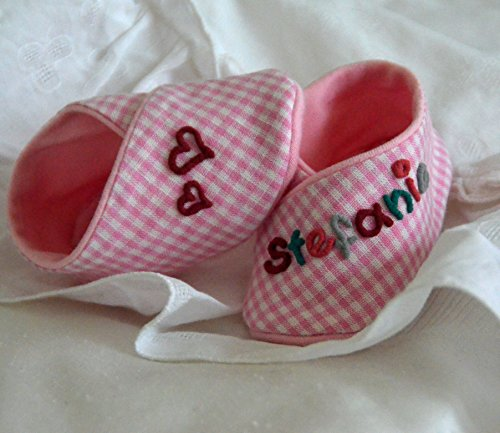 GeschenkSet kleine Herzen rosa kariert, ErstlingsSet Babyschuhe