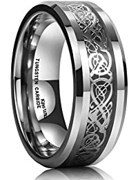 b973491b604c 8mm Tungsten Carbide Ring Celtic Dragon Silver Inlay Flat Comfort Fit  Wedding Band Ring Any Size