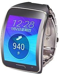 Reloj banda, happytop acero inoxidable reloj pulsera correa de muñeca de repuesto para Samsung Gear S SM-R750, hombre, negro, S