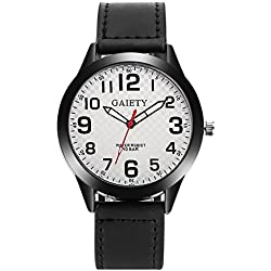 HARRYSTORE Men's Quartz Watch Retro Design Luxury Wrist Watch with White Dial Analogue Display and Black Leather Strap