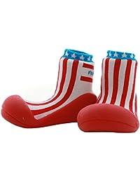 Attipas Newborn 3-40 months Baby Girls Soft Sole Prewalker Cozie Toddler Socks cum Shoes Fleece Booties, Red