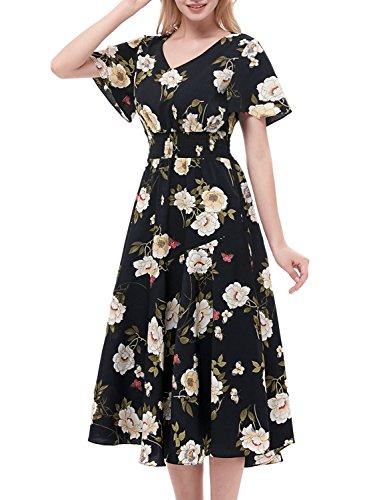 GardenWed Damen Plus Size Sommerkleider Strandkleider V-Ausschnitt Blumen Kleider Boho Maxilang Chiffon Abendkleider Black Small Flower XL