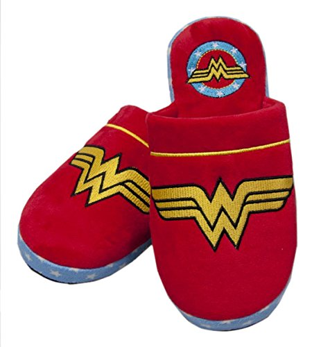 Groovy DC Comics Adulti Wonder Woman Accappatoio Accappatoio O Ciabatte - Pantofole - Rosso, 38-40