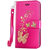Cover Samsung Galaxy S3 Case Rose red,Cozy Hut [Luxury and Elegant] Wallet Case Pure Color Pattern PU Leather Bronzing Butterfly Pattern Magnetic Flip Wallet Cover with Detachable Hand Strap & Card Slots & Stand Function Protective Cases Covers for Samsung Galaxy S3 i9300 4.8 Inch - Rose red