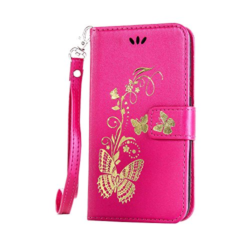 Anlike Sony Xperia M2 (4,8 Zoll) Hülle, Schutzhülle für Sony Xperia M2 (4,8 Zoll) Wallet Tasche [Butterfly geprägte Serie Bronzing] Handyhülle - Rosenrot