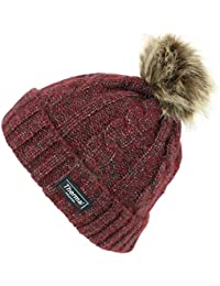 25146fa3 Thinsulate Cable Knit Beanie Hat with Thermal Lining and Faux Fur Bobble