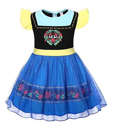 AmzBarley Prinzessin Anna Krönung Kostüm Kinder Mädchen Schick Party Kleid Halloween Cosplay Kleider Karneval Kostüme Geburtstag Ankleiden Urlaub Zeremonie Festzug Kleidung (Urlaub Kostüm Kinder)
