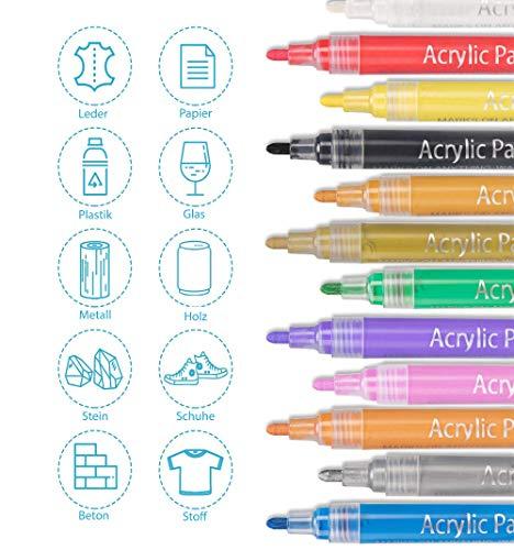 Acrylstifte Acrylic Painter Deco Pen – geeignet für verschiedene Oberflächen Keramik Stoff Glas Stein Holz Metall – 12 lebhafte Farben auf Wasserbasis