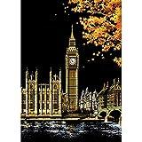 Elegantes Dekoratives Malen, Kratzen, Malen, Zeichnen, Papierbilder, Dekoration, 10 Stück/Set London Big Ben