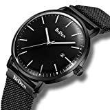 Mens Simple Designer Watches Silver Men's Milanese Mesh Strap Luxury Calendar Wrist Watch Stainless Steel Band 30M Waterproof Analogue Quartz Business Casual Watches for Men Blue Dial (Black)