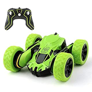 2.4GHz RC Stunt Car Toy-12 KM/H Extreme High Speed 2WD Remote Control Car Racing Vehicle, Speed 7.5Mph 360 Grad Rolling Rotation mit LED-Scheinwerfern Doppel,Green