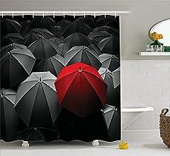 Idea Regalo - PP-Hola - Tenda da Doccia in Tessuto con Ganci, Motivo Happiness in Sadness, Colore: Rosso e Nero
