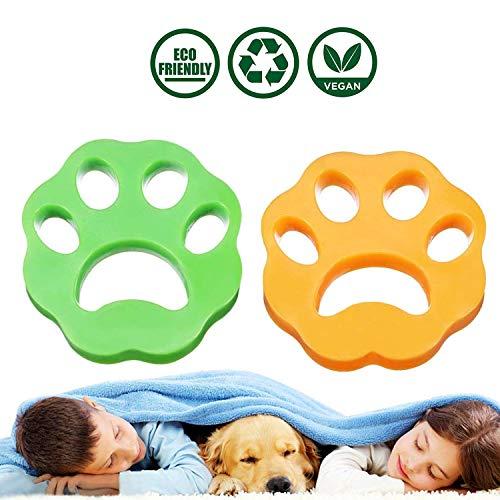 Yooap- Set di 2 palline per la pulizia di peli di animali domestici, riutilizzabili, per lavare i peli di animali domestici (forma prugna giallo e verde)