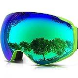 ZIONOR Lagopus X2 Snowmobile snowboard Skate Occhiali da sci con lente staccabile grandangolare e lente anti nebbia big sferica (Verde)