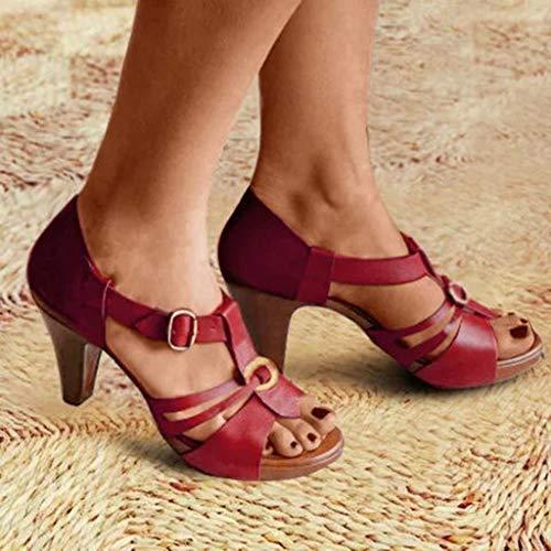 Junjie Rom Frau Sommer Stiletto High Heels Elegan Schuhe Knöchel Schnalle römischen Sandalen Stiefel lässig Reißverschluss Open Toe Sandalen Schwarz, Braun, Grau, Grün, Rot - Womens Strappy Wedge Sandal