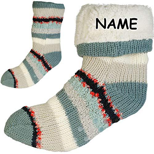 Preisvergleich Produktbild alles-meine.de GmbH Socken / Haussocken - Strick - Streifen Muster - GRAU / BUNT - Flausch gefüttert - incl. Name - Größe 36 bis 41 - Plüsch - Sohle Rutschfest - Wintersocken..