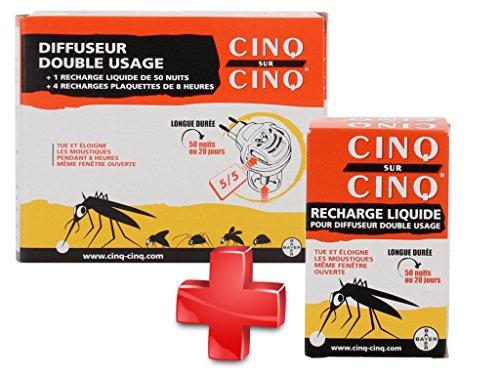 Cinq sur Cinq - Kit protection contre les Moustiques pour la Maison - Cinq sur Cinq Diffuseur Double Usage + Cinq sur Cinq Recharge Plaquettes